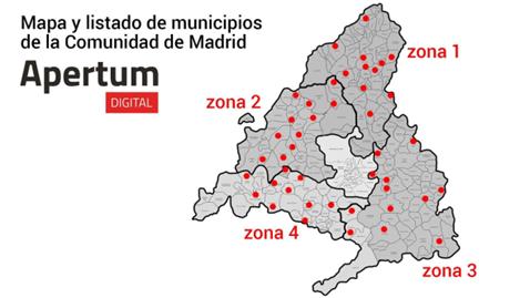 Mapa y listado de municipios de la Comunidad de Madrid